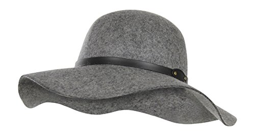 Grey 100% Wool Felt Floppy Hat w/ Vegan Leather Band - Vintage Boho Fedora (Women Hipster Hats)