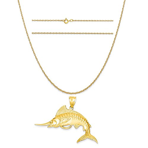 14k Yellow Gold Marlin Pendant on a 14K Yellow Gold Carded Rope Chain Necklace, 16