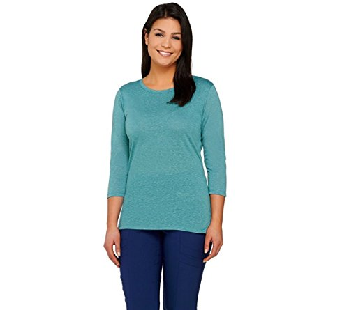 Lisa Rinna Collection 3 4 Slv Knit Top Layered Back Dusty Teal M New A264573