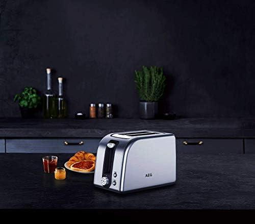 AEG AT7700 Toaster (850 Watt, 7-stufige Bräunungsgrad Einstellung, Stopp-, Auftau- & Aufwärmknopf, Brötchenaufback-Funktion), Edelstahl