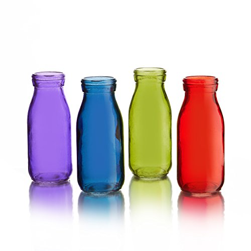 - Style Setter Gems Colored Glass Bottles (Set of 4), Multicolor