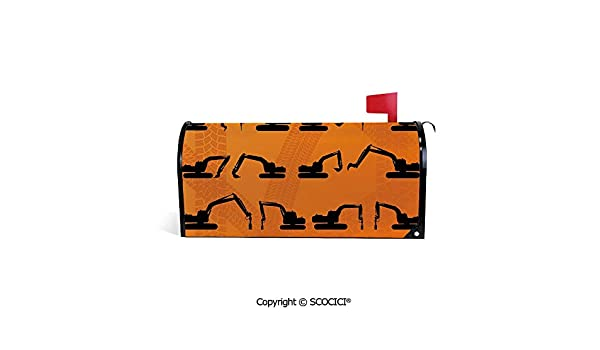 SCOCICI Large Size 25.5 X 21 Printed PVC Magnetic Sunscreen Mailbox Cover Excavator Black Silhouettes Tire Traces Track Machinery Industry Technology Weatherproof Mailbox Covers for Home Decor