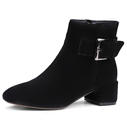 Square Toe Ankle Black Suede Nine Buckle Women's Boot Block Heel Handmade Fashion Seven Leather qwqXOPI