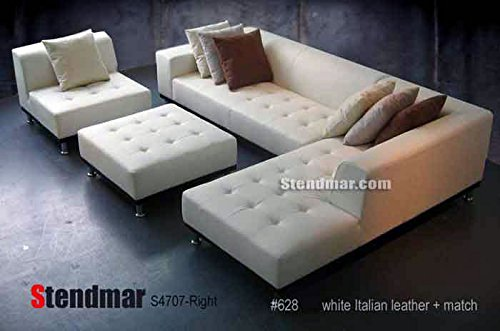 4pc Modern White Genuine Leather Sectional Sofa Chaise Chair Ottoman S4707RW : real leather sectional with chaise - Sectionals, Sofas & Couches