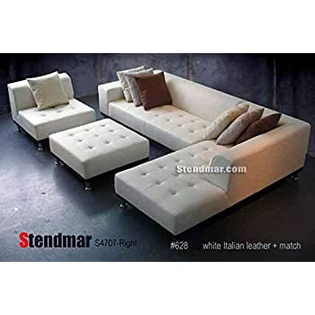 Modern leather 5 piece sectional sofa in white for Amazon sectional sofa with chaise