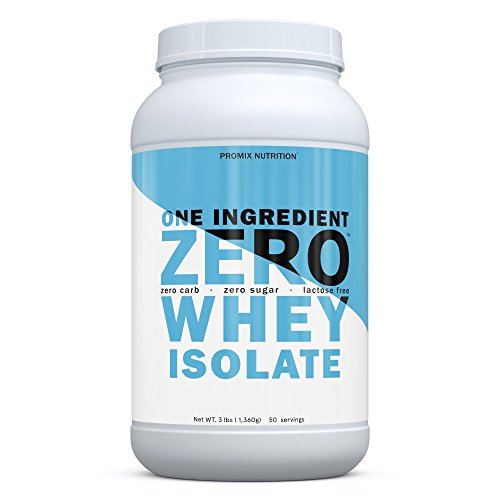 PROMIX Zero Native 1 Ingredient Whey Protein Isolate Powder, Unflavored, 3 pounds 25g Protein, 0 carb, 0 Sugar, 50 Servings Gluten Free, Undenatured, Non GMO, Keto