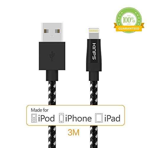 New Music Pro Ipod - Kinps Apple MFi Certified Lightning to USB Cable 10ft/3m iPhone Charger Cord Super Long for iPhone X / 8 / 8 Plus / 7 / 7 Plus / 6S / 6S Plus / 6 / 6 Plus / SE, iPad Pro / Air / Mini (Nylon-Black)