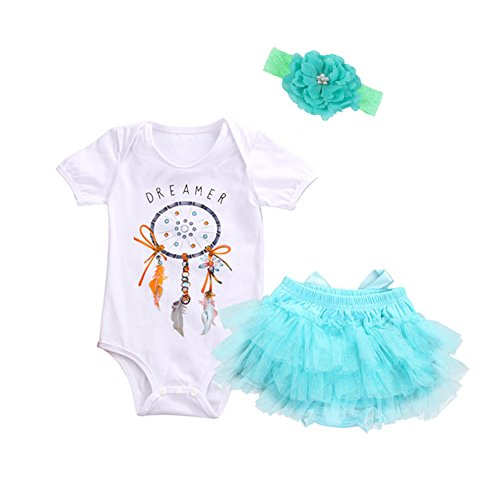 OUTGLE Baby Girl Toddler Dream Catcher Print Rompers + Bloomers + Flower Heanband Clothing Set Outfits (6-12 Months)