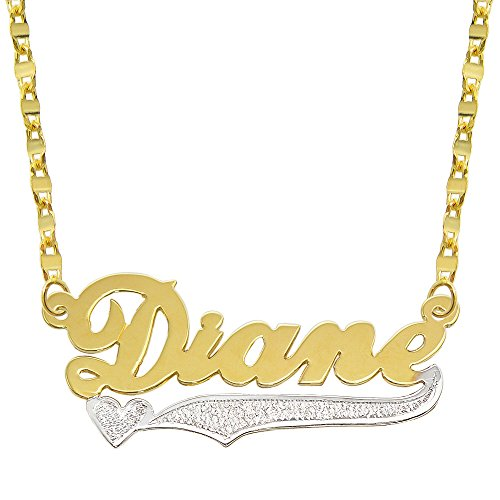 Tone Gold Plate (14K Two Tone Gold Personalized Name Plate Necklace - Style 9 (16 Inches, Hammer)