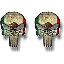 """2 PUNISHER MEXICO 5"""" Vinyl Graphic Decals Stickers American Sniper Mexican Skull Sticker ((2) 4""""x 5"""" Decals)"""