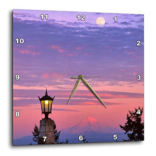 3dRose Danita Delimont - Oregon - USA, Oregon, Portland. Mt. Hood with Moonrise at Sunset. - 15x15 Wall Clock (DPP_314975_3) (Furniture Patio Oregon Portland)