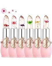 Clear Flower Jelly Lipstick, 6 opakowań Pożywny nawilżający balsam do ust Pomadka do zmiany temperatury i koloru