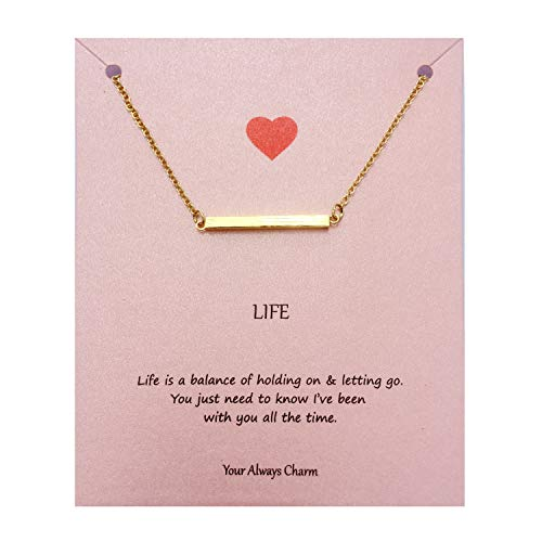 choice of all Bar Necklace - Minimalist Life Balance Bar Pendant Necklace Inspirational Gifts (Gold) by choice of all