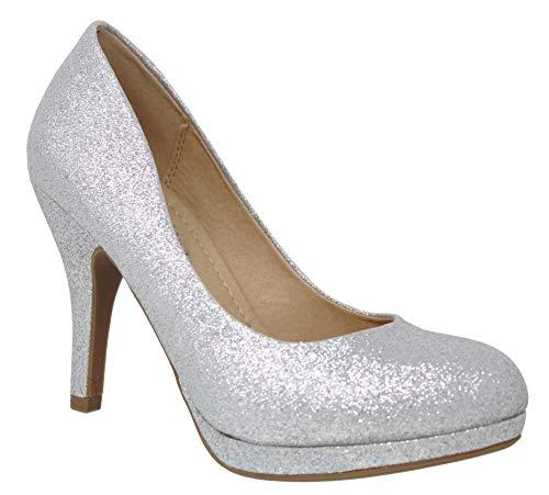 MVE Shoes Women's Platform Almond Toe Pumps-Shoes, Silver glt Size 10 ()