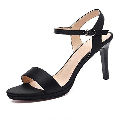 Ouvert Noir Noir PU Abricot Sexy Chaussures pour Sandales Talons Femmes Talons Été Mince Femme Bout Hauts zZgnZqR