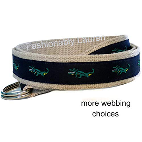 - Men's Belt/Green Alligator D-Ring Belt/Navy Blue Preppy Ribbon Belt/Khaki Belt for men teens Big and Tall Man Belt/Gifts For Men