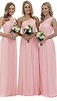 liangjinsmkj Women's One Shoulder Long Bridesmaid Dresses Asymmetric Chiffon Prom Evening Dress