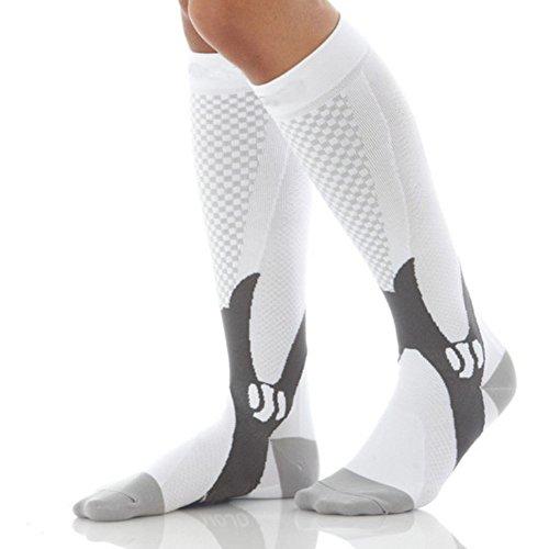 Price comparison product image KingBig Compression Soccer Socks, Man's Knee High Football Socks (X/XL, White)
