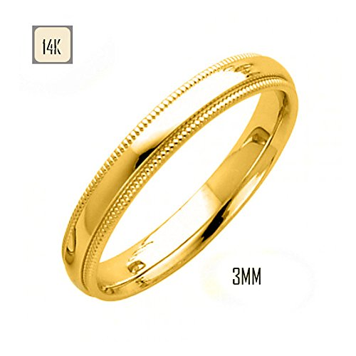 yellow gold 3mm classic comfort fit wedding band with milgrain edging