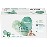 Pampers Pure Disposable Baby Diapers, Hypoallergenic and Fragrance Free Protection, Size 1 (8-14 lb), 74 Count, Super
