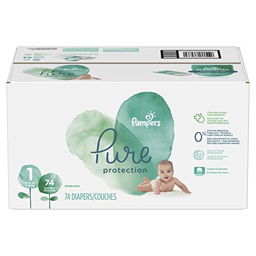 (Diapers Newborn / Size 1 (8-14 lb), 74 Count - Pampers Pure Disposable Baby Diapers, Hypoallergenic and Fragrance Free Protection, SUPER)