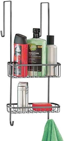 mDesign Estantería de Ducha para Colgar sobre la mampara – Práctico Colgador para baño de Metal para Colocar sin Taladro y con ventosas – Cestas metálicas inoxidables para Accesorios de Ducha –