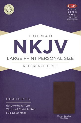 (NKJV Large Print Personal Size Reference Bible, Brown Genuine Cowhide)