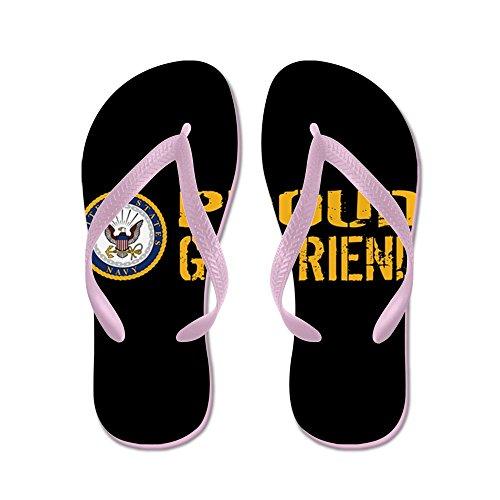 CafePress U.S. Navy: Proud Girlfriend (Black) - Flip Flops, Funny Thong Sandals, Beach Sandals