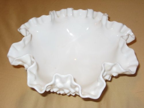 Vintage Fenton Hobnail Milk Glass Double Crimped Footed 8x4 Inch Candy Dish Compote