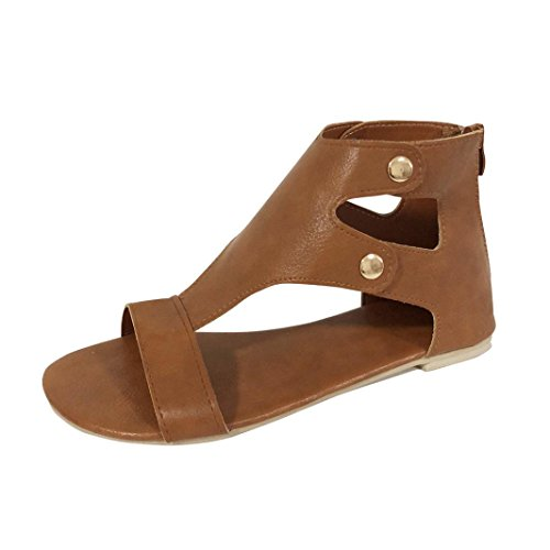 Wedge Sandals, Women Flat-Bottomed Roman Jesus Sandals Open Ankle Flat Shoes (Coffee, US:7)
