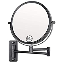 Lansi Black Makeup Mirror 10x Magnification, Double-Sided Swivel Mirror Wall Mount, Black Finish