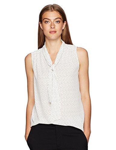 Jones New York Womens Slvlss Print Tie Neck Top