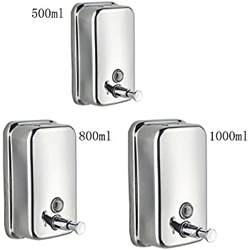 E Support™ 1000ml Classic Series Surface Mounted Stainless Steel Manual Wall Mount  Soap Dispenser For Bathroom Kitchen Marketplace Hotel Restaurant