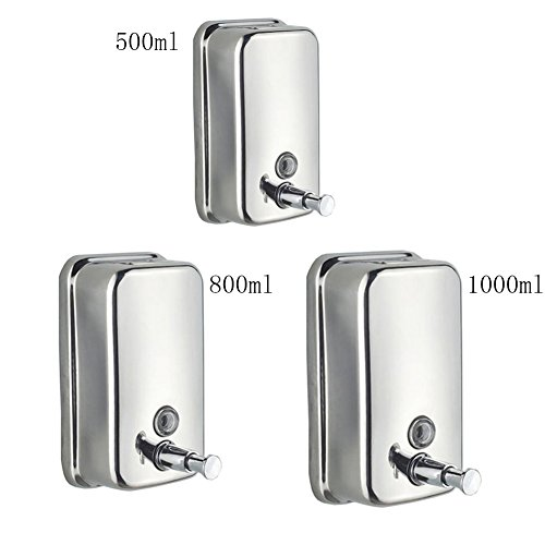 E Support™ 500ml Classic Series Surface-Mounted Stainless Steel Manual Wall-Mount Soap Dispenser For Bathroom Kitchen Marketplace Hotel Restaurant (Mount Series Wall Dispenser Soap)