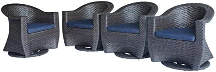 Great Deal Furniture Florence Patio Swivel Chairs, Wicker with Outdoor Cushions, Multi-Brown and Navy Blue Set of 4