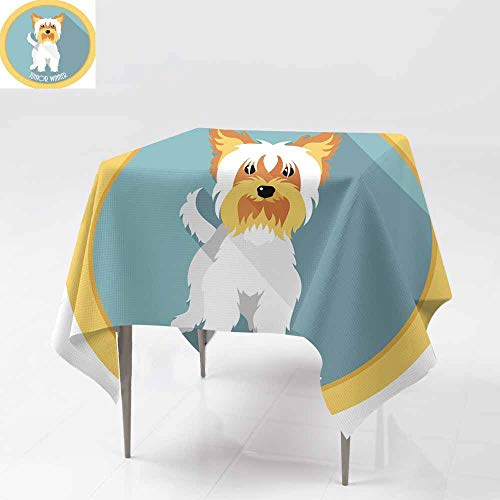 Fbdace Resistant Table Cover,Dog Junior Winner Medal icon Flat Design Dinner Picnic Table Cloth Home Decoration 70x70 Inch