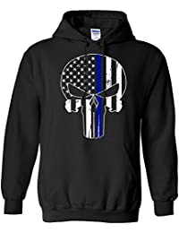 Police Thin Blue Line Skull American Flag - Support Police Department HOODIE, Black, X-Large