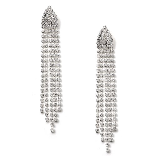 Topwholesalejewel Silver Crystal Half Hexagon Shape Rhinestone with 5 Strand Rhinestone Dangle Earrings ()