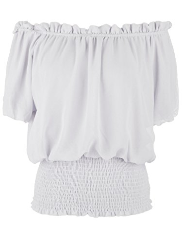 - Anna-Kaci Womens Short Sleeve Ruffle Stretch Off Shoulder Boho Blouse Top, White, Large