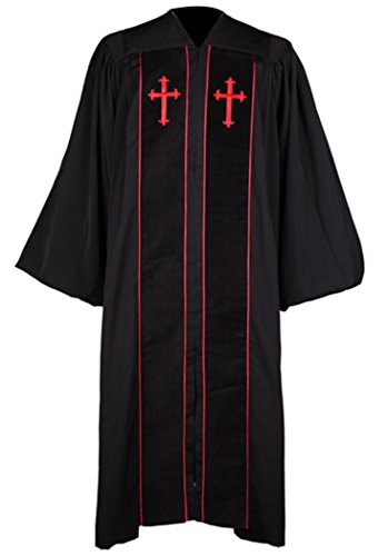 Pulpit Robe - Ivyrobes Unisex Adults Cleric Clergy Robe X-Large Black 54