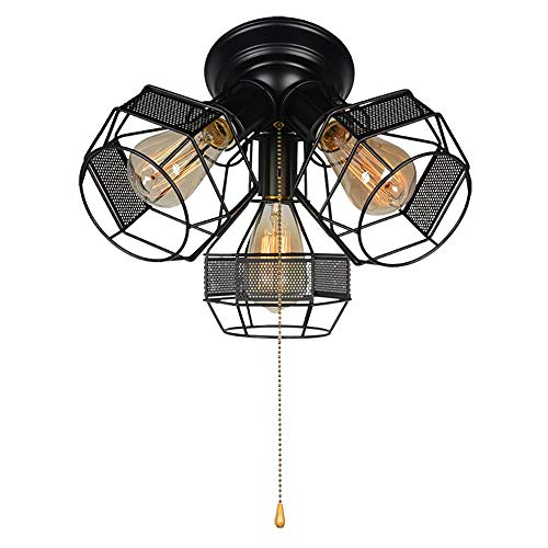 Baiwaiz Industrial Ceiling Light with Pull Chain, Black Metal Wire Cage Flush Mount Ceiling Light Pull String Light Fixture 3 Lights Edison E26 018