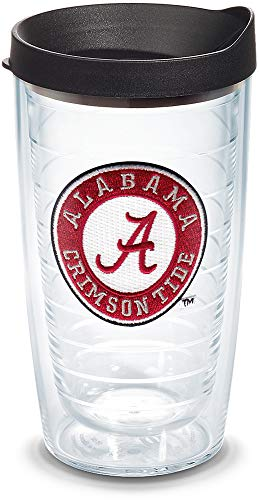 Tervis 1056596 Alabama Crimson Tide Tumbler with Emblem and Black Lid 16oz, Clear