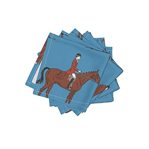 Roostery Horse Organic Cotton Sateen Cloth Cocktail Napkins Equestrian Foxhunt Show Dressage Jack Russell Preppy by Ragan Set of 4: 10 x 10in