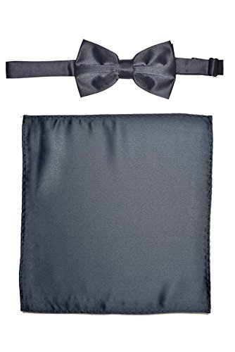 Men's Premium Bow Tie with Matching Pocket Square Set BowTie and Handkerchief For Suits or Tuxedos (Dark Gray Charcoal Bow - Tuxedo Charcoal Gray