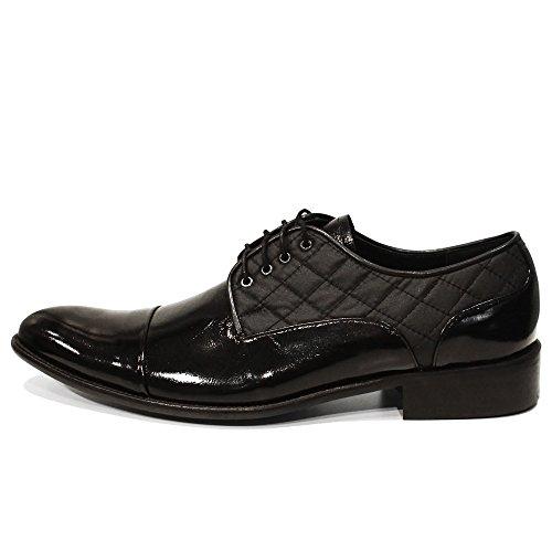 PeppeShoes Modello Quilti - Handgemachtes Italienisch Leder Herren Schwarz Oxfords Abendschuhe Schnürhalbschuhe - Rindsleder Weiches Leder - Schnüren