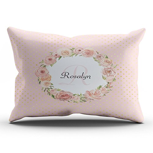 Fanaing Bedroom Custom Decor Romantic Gold Dotted Rose Floral Monogrammed Name Pillowcase Soft Zippered Pink Throw Pillow Cover Cushion Case Fashion Design One-Side Printed King 20X36 - Baby Monogrammed Pillows