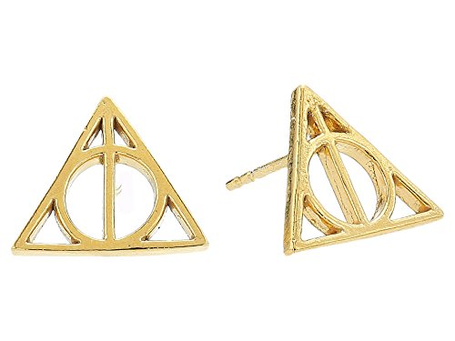Alex and Ani Women's Harry Potter Deathly Hallows Earrings 14kt Gold Plated One Size (Harry Potter Elder Wand Cloak And Stone)