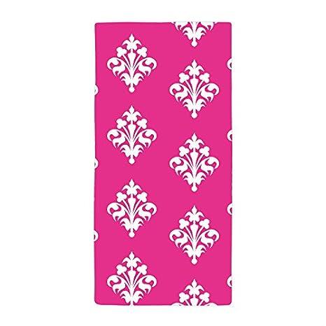 Río Rosa Rojo diseño floral toalla toalla de baño toalla de playa de microfibra, Blanco1