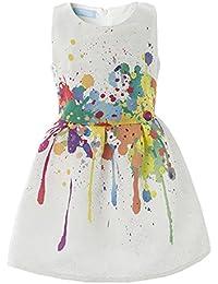 Creative Art Colorful Print Summer Girls Casual Dress Size 6-12