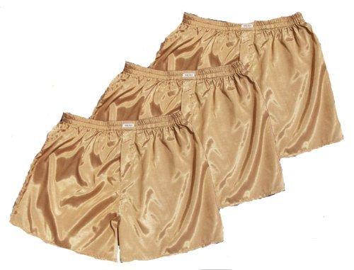 M L XL Gold Thai Silk Boxer Shorts Underwear Men Sleepwear Pack of 3 Size S